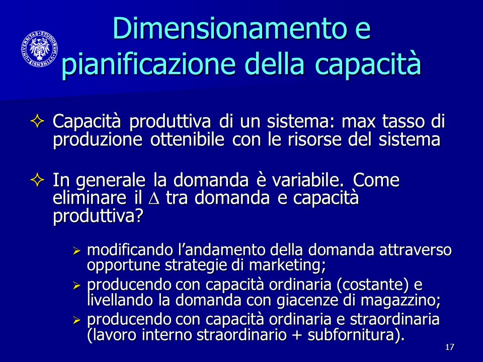 Dimensionamento e pianificazione della capacità