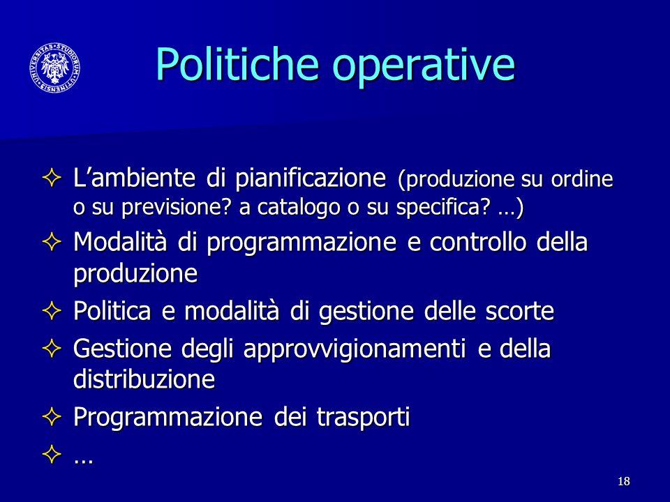 Politiche operative L'ambiente di pianificazione (produzione su ordine o su previsione a catalogo o su specifica …)