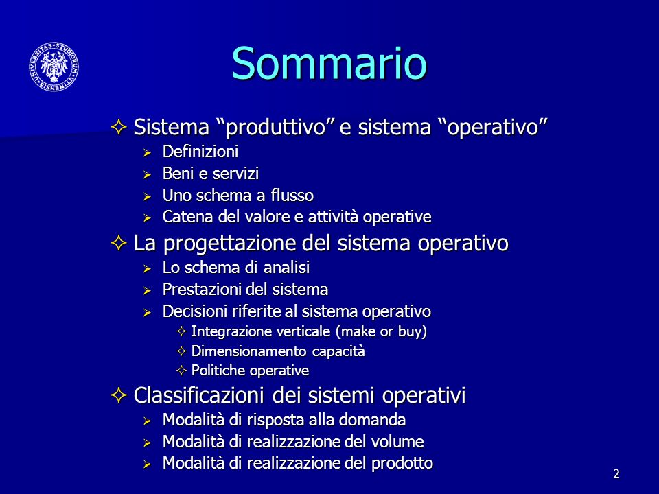 Sommario Sistema produttivo e sistema operativo