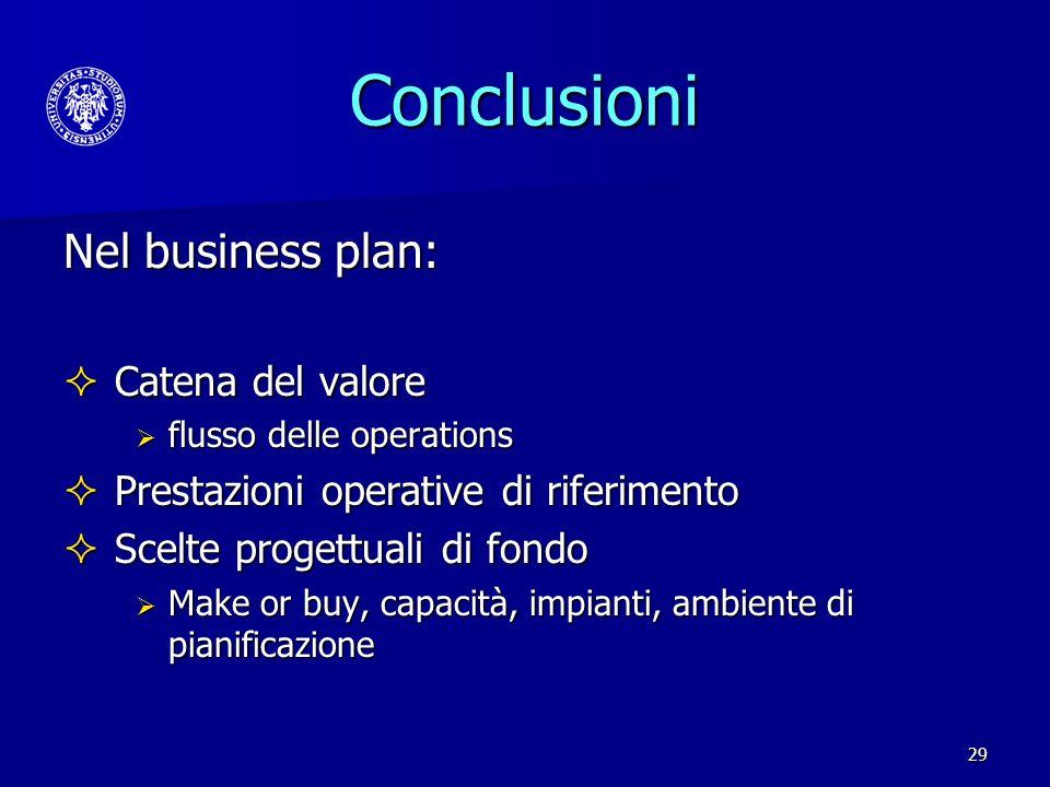 Conclusioni Nel business plan: Catena del valore