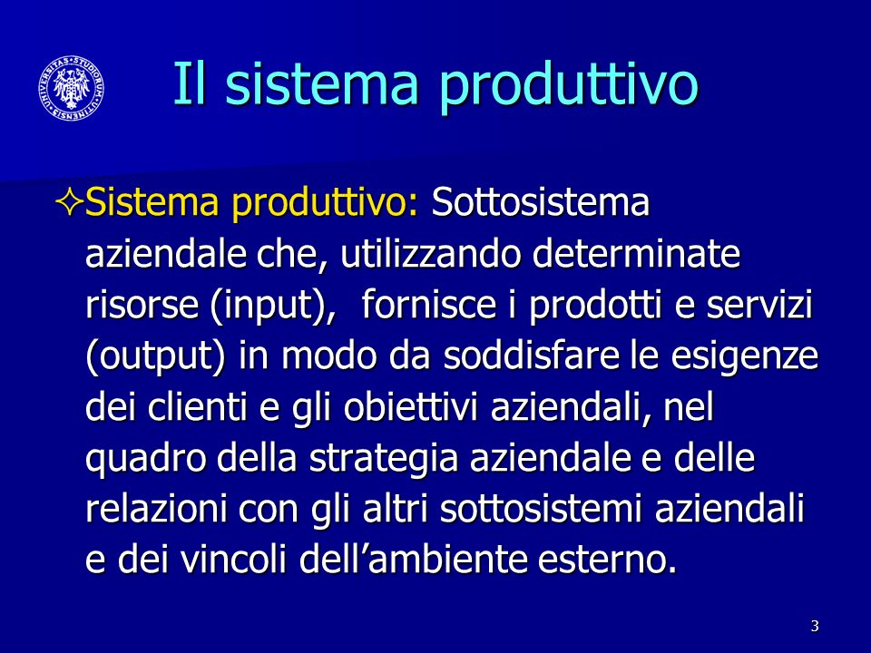 Il sistema produttivo