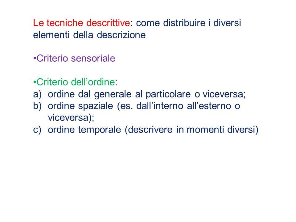 Le tecniche descrittive: come distribuire i diversi elementi della descrizione