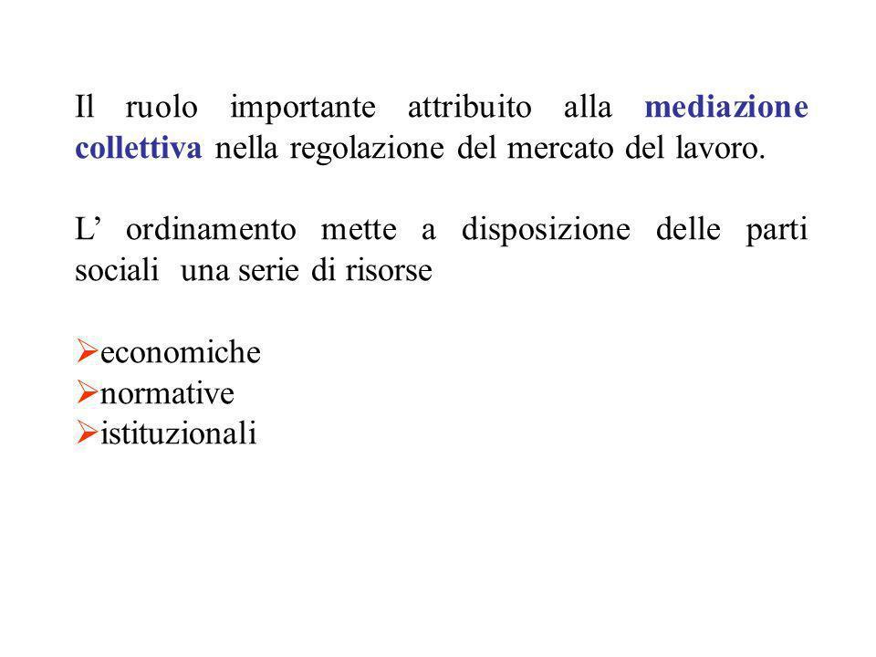 Il ruolo importante attribuito alla mediazione collettiva nella regolazione del mercato del lavoro.