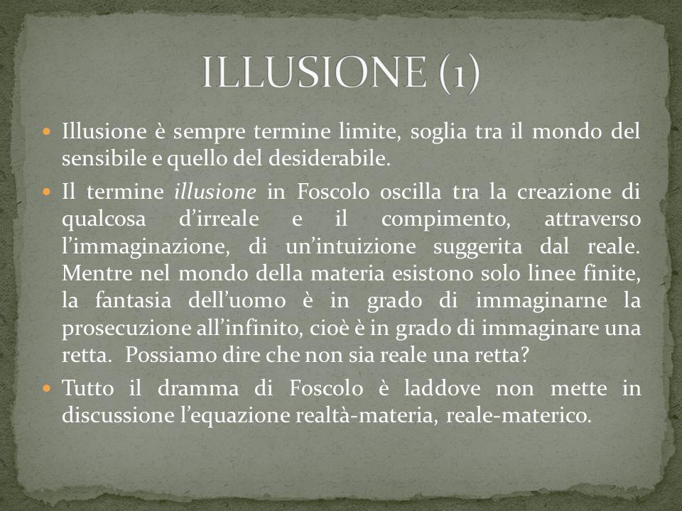 ILLUSIONE (1) Illusione è sempre termine limite, soglia tra il mondo del sensibile e quello del desiderabile.
