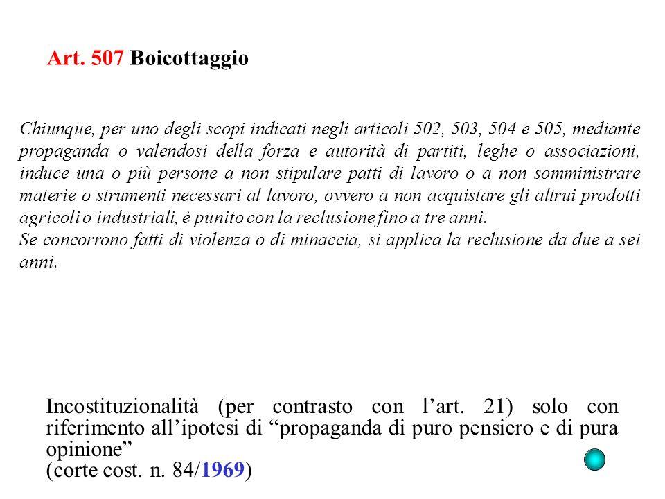 Art. 507 Boicottaggio