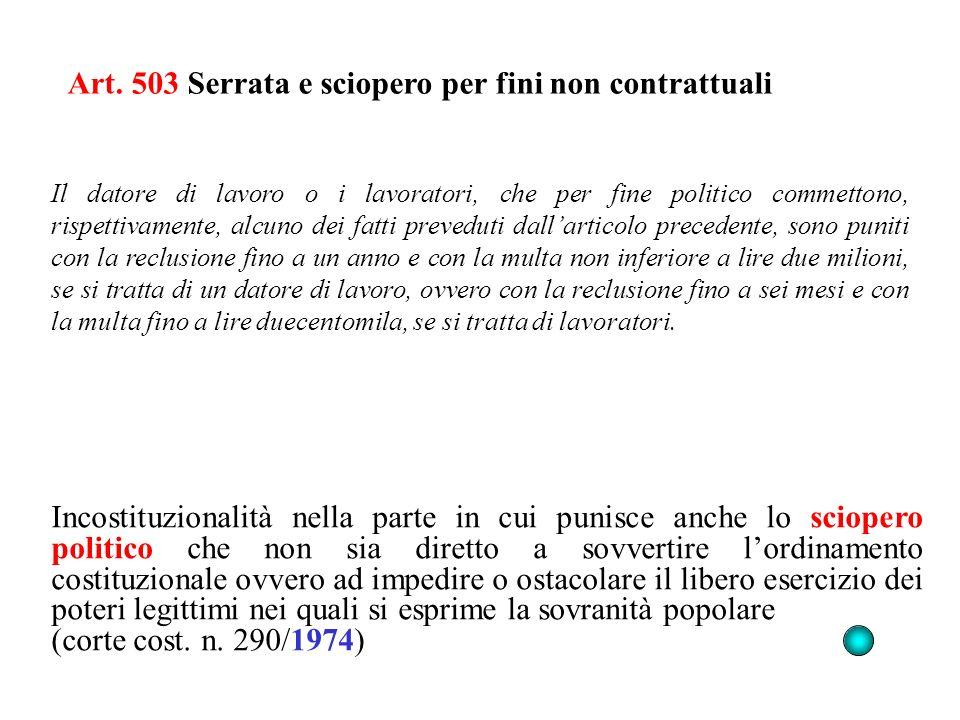 Art. 503 Serrata e sciopero per fini non contrattuali