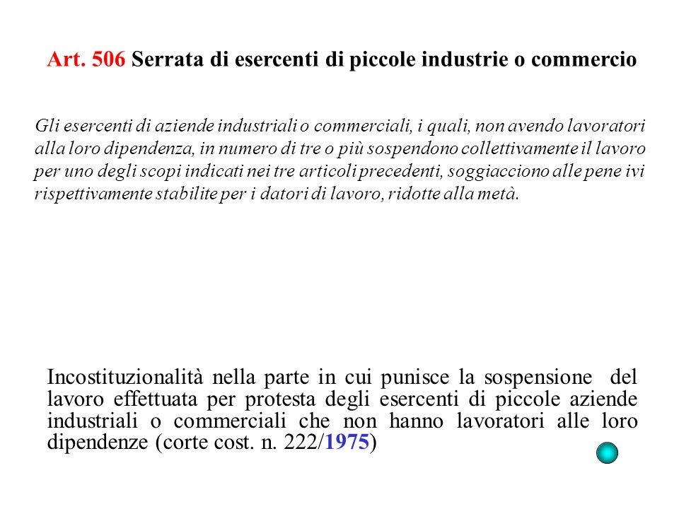 Art. 506 Serrata di esercenti di piccole industrie o commercio