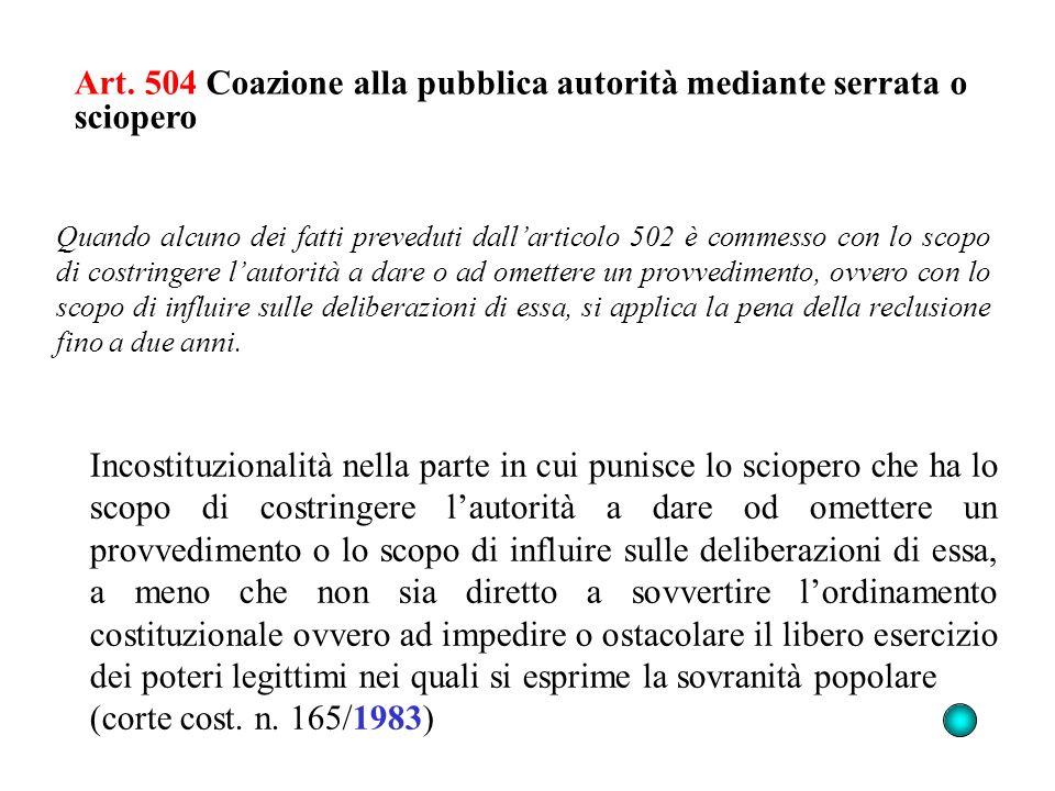 Art. 504 Coazione alla pubblica autorità mediante serrata o sciopero