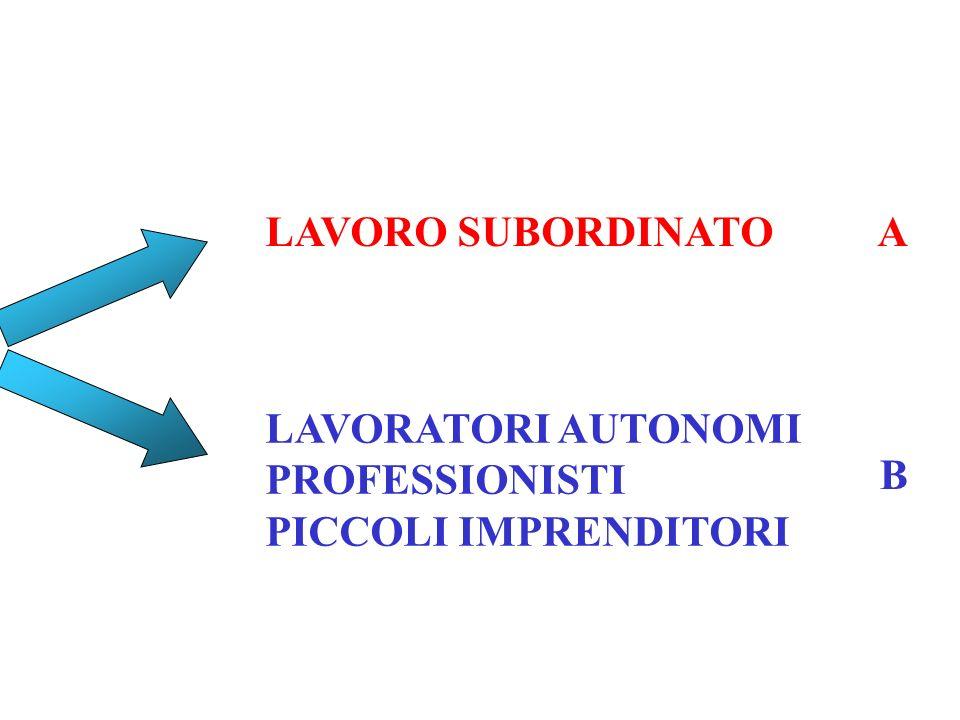 LAVORO SUBORDINATO A LAVORATORI AUTONOMI PROFESSIONISTI PICCOLI IMPRENDITORI B