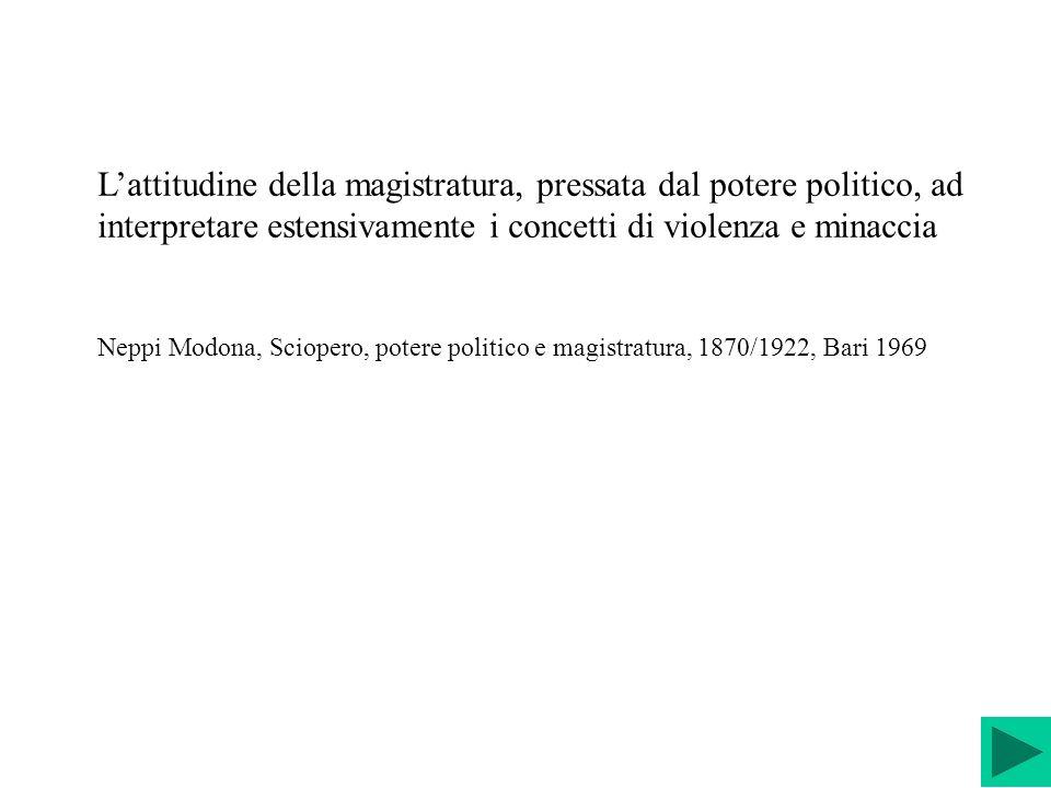 L'attitudine della magistratura, pressata dal potere politico, ad interpretare estensivamente i concetti di violenza e minaccia