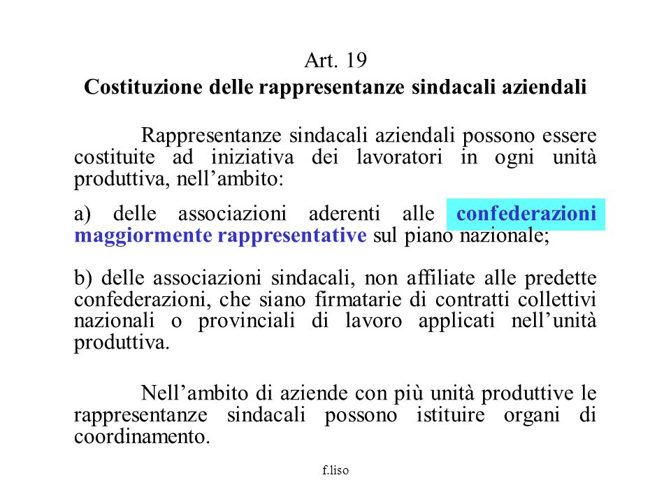 Costituzione delle rappresentanze sindacali aziendali