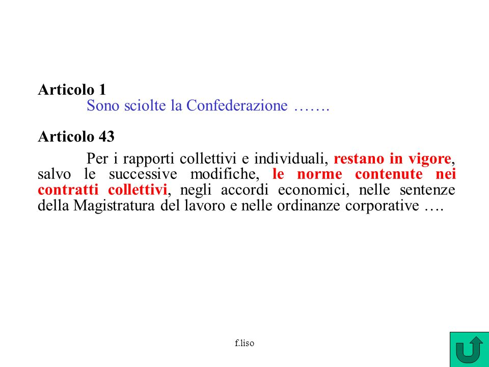 Sono sciolte la Confederazione ……. Articolo 43