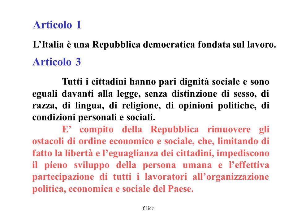 Articolo 1 L'Italia è una Repubblica democratica fondata sul lavoro. Articolo 3.