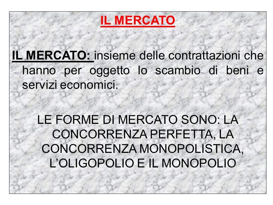 IL MERCATO IL MERCATO: insieme delle contrattazioni che hanno per oggetto lo scambio di beni e servizi economici.