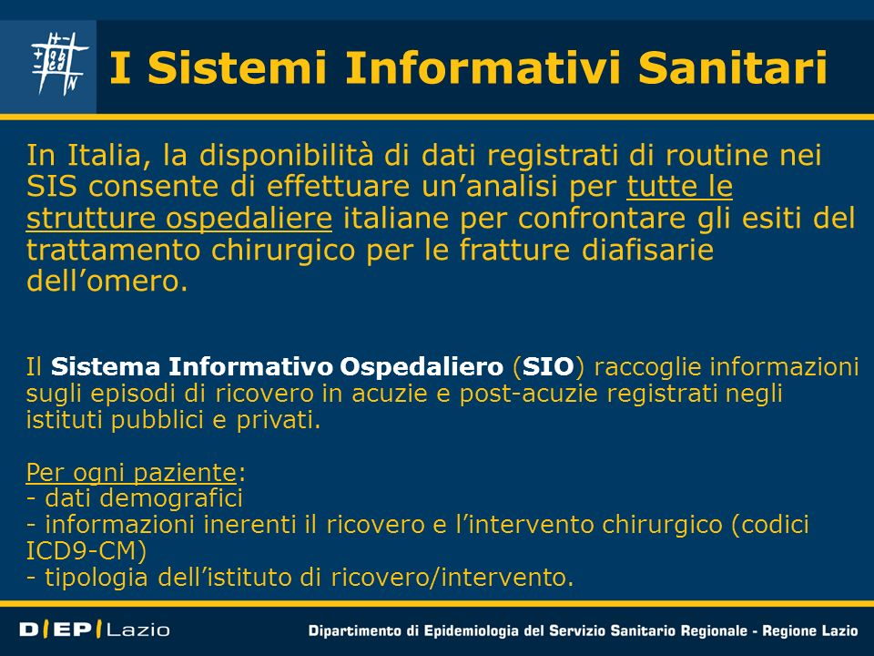 I Sistemi Informativi Sanitari