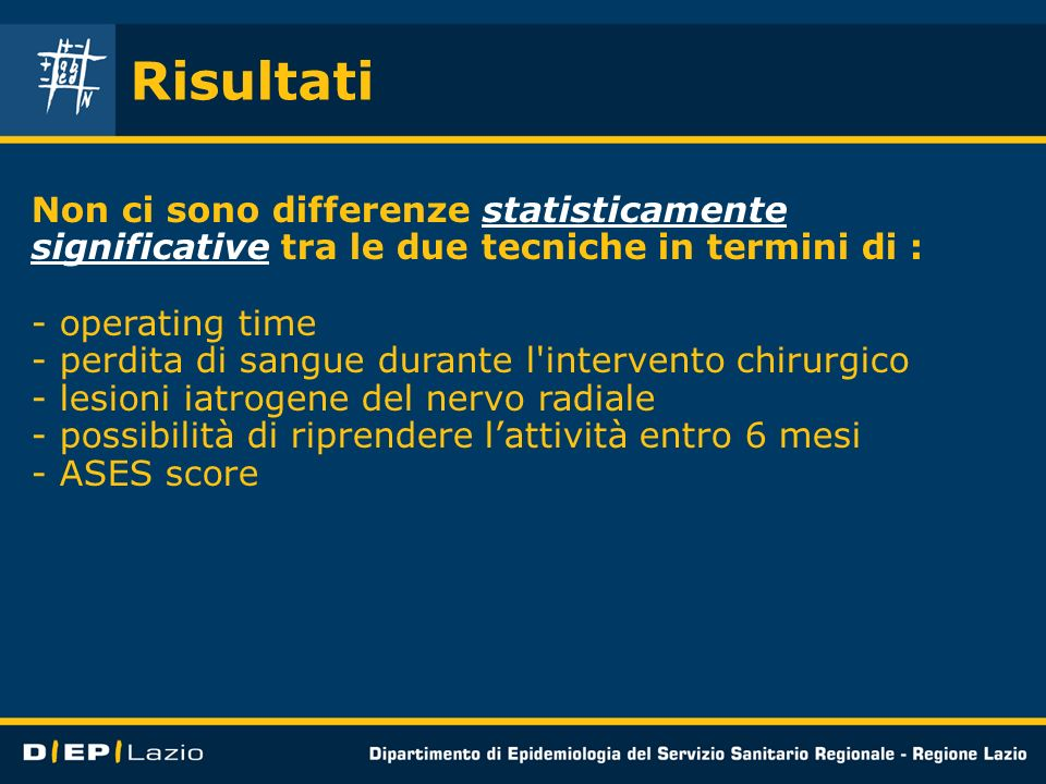 Risultati Non ci sono differenze statisticamente significative tra le due tecniche in termini di : operating time.