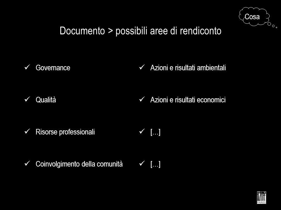 Documento > possibili aree di rendiconto