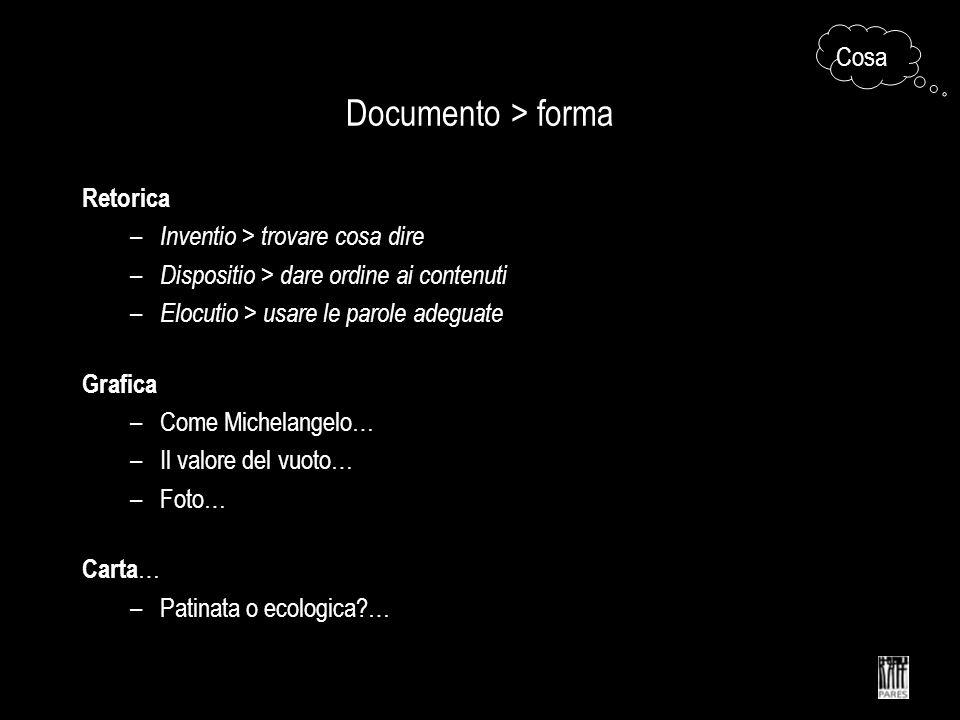 Documento > forma Cosa Retorica Inventio > trovare cosa dire