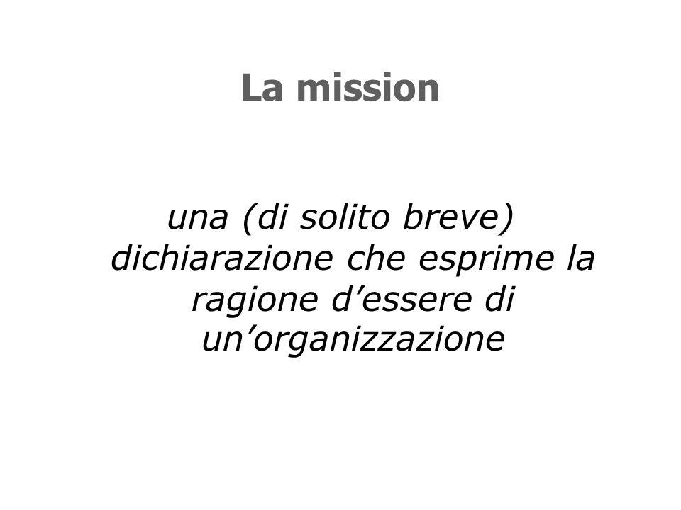 La mission una (di solito breve) dichiarazione che esprime la ragione d'essere di un'organizzazione
