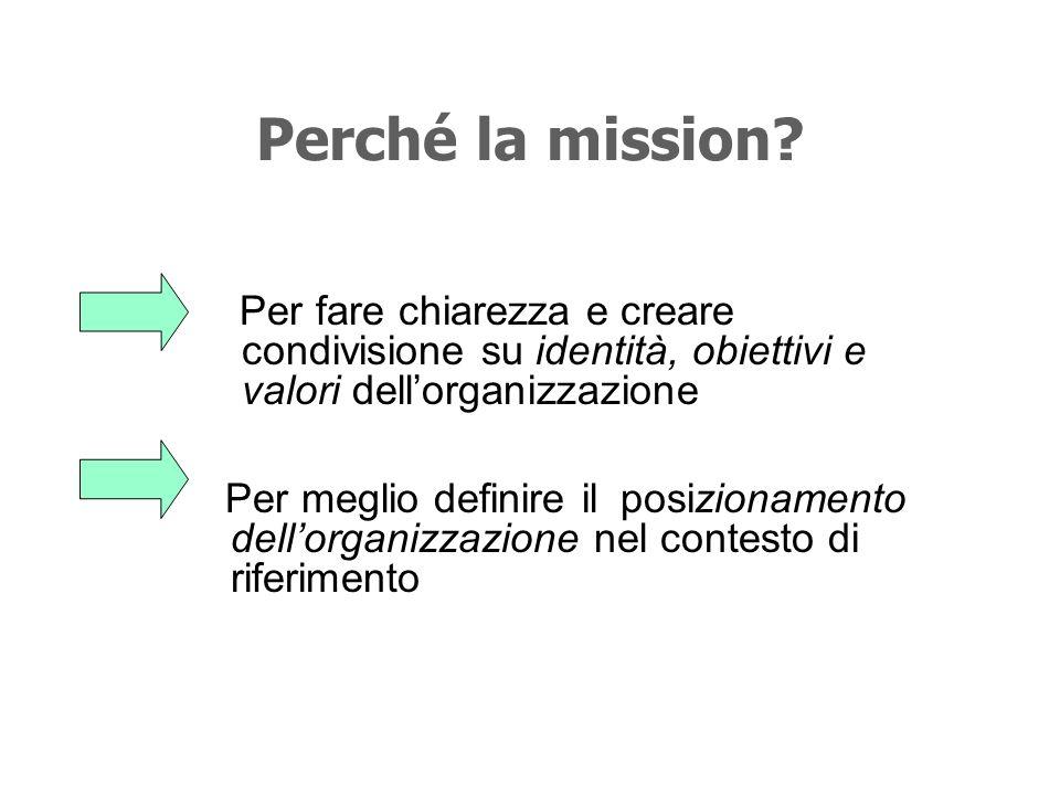 Perché la mission Per fare chiarezza e creare condivisione su identità, obiettivi e valori dell'organizzazione.
