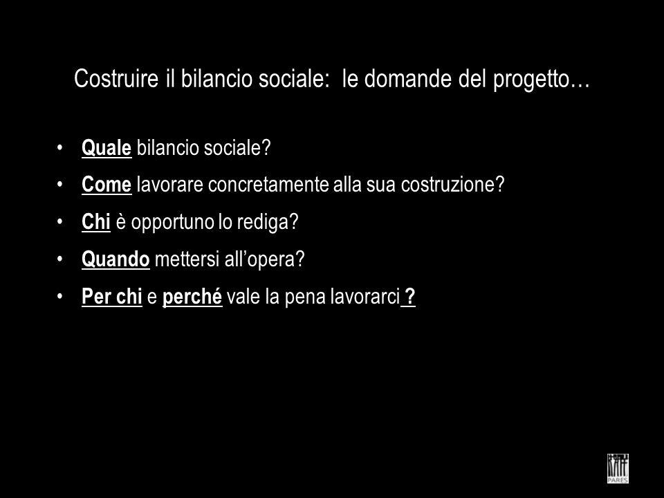 Costruire il bilancio sociale: le domande del progetto…