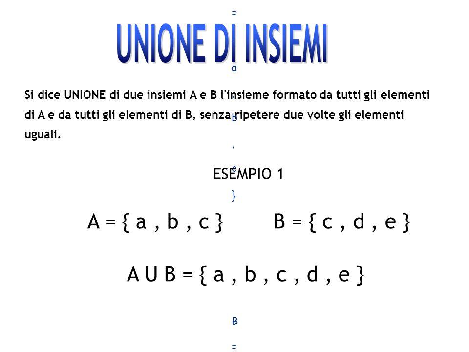 A = { a , b , c } B = { c , d , e } A U B = { a , b , c , d , e }