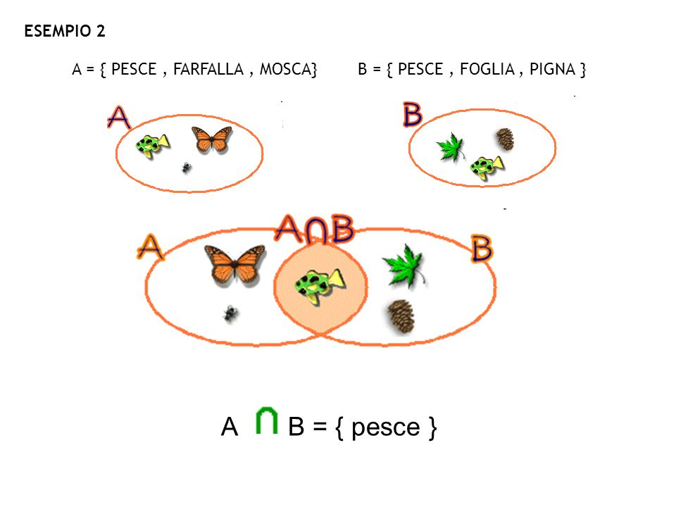 A = { PESCE , FARFALLA , MOSCA} B = { PESCE , FOGLIA , PIGNA }