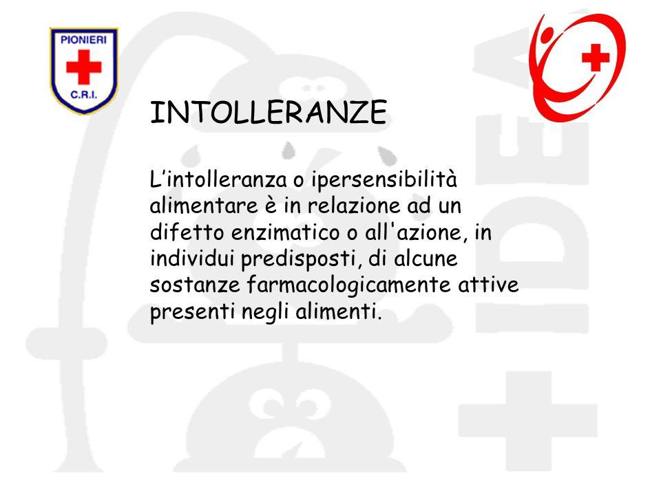 INTOLLERANZE L'intolleranza o ipersensibilità