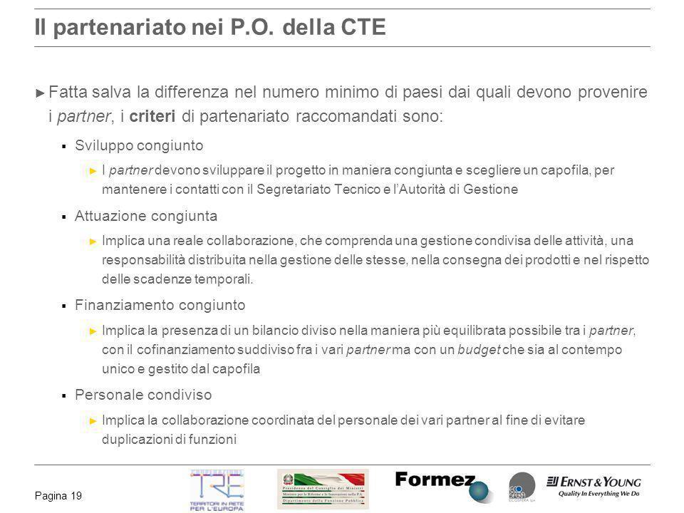 Il partenariato nei P.O. della CTE