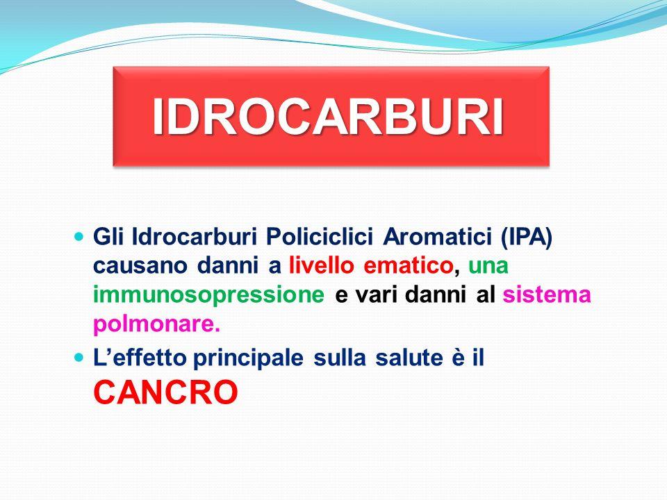 IDROCARBURI Gli Idrocarburi Policiclici Aromatici (IPA) causano danni a livello ematico, una immunosopressione e vari danni al sistema polmonare.