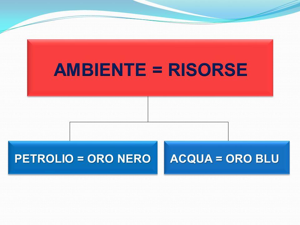 AMBIENTE = RISORSE PETROLIO = ORO NERO ACQUA = ORO BLU