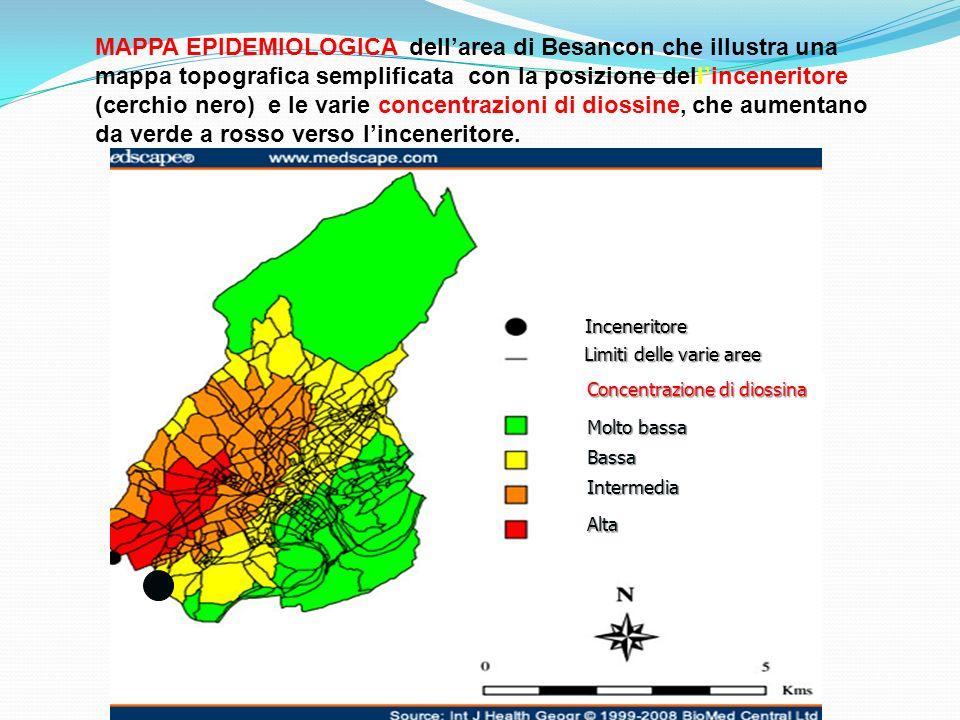 MAPPA EPIDEMIOLOGICA dell'area di Besancon che illustra una mappa topografica semplificata con la posizione dell'inceneritore (cerchio nero) e le varie concentrazioni di diossine, che aumentano da verde a rosso verso l'inceneritore.