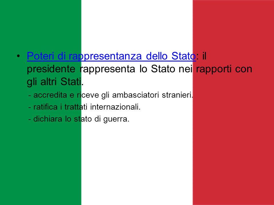 Poteri di rappresentanza dello Stato: il presidente rappresenta lo Stato nei rapporti con gli altri Stati.
