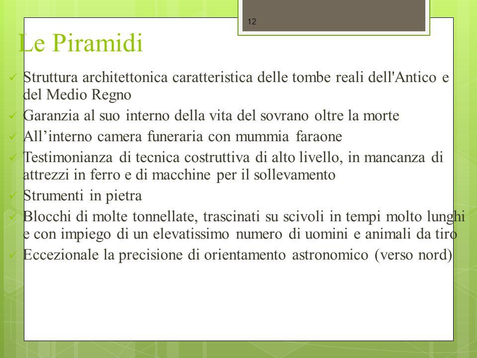 Le Piramidi Struttura architettonica caratteristica delle tombe reali dell Antico e del Medio Regno.