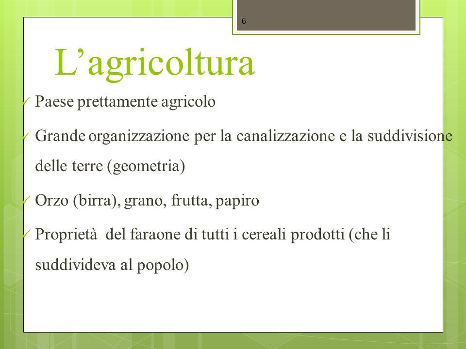 L'agricoltura Paese prettamente agricolo