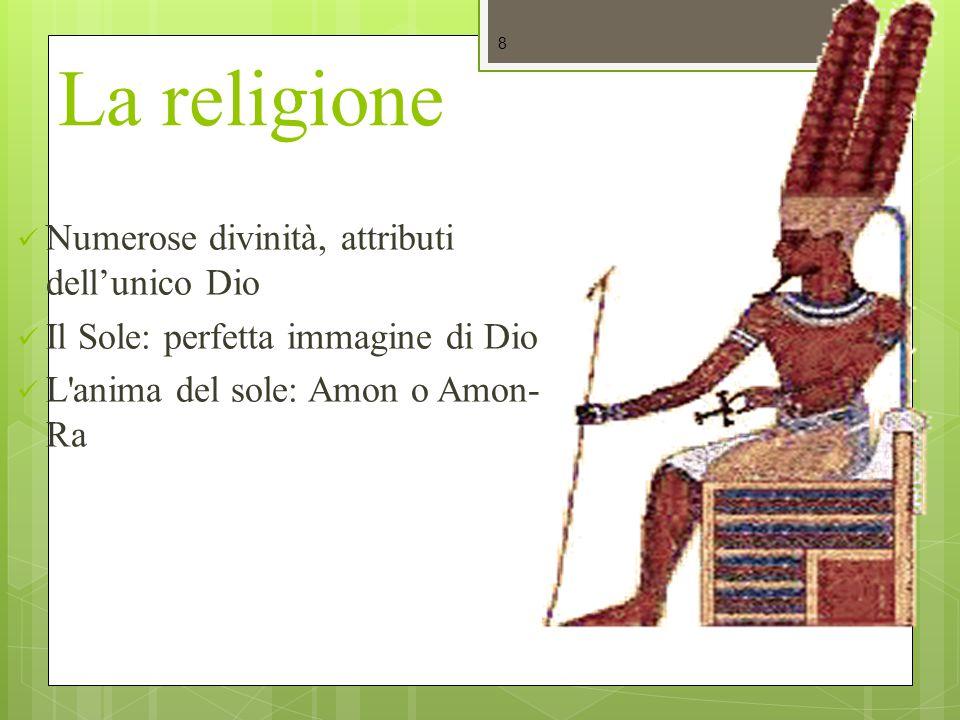 La religione Numerose divinità, attributi dell'unico Dio
