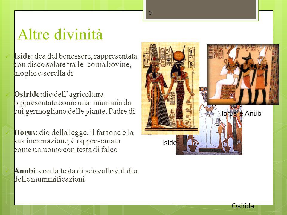 Altre divinità Iside: dea del benessere, rappresentata con disco solare tra le corna bovine, moglie e sorella di.