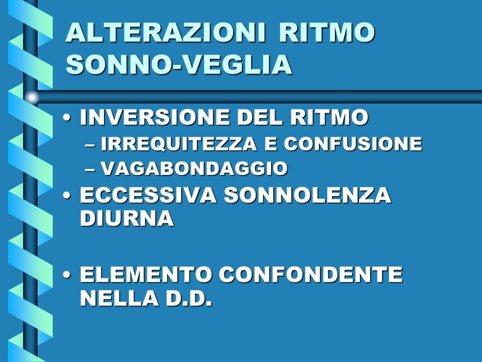 ALTERAZIONI RITMO SONNO-VEGLIA