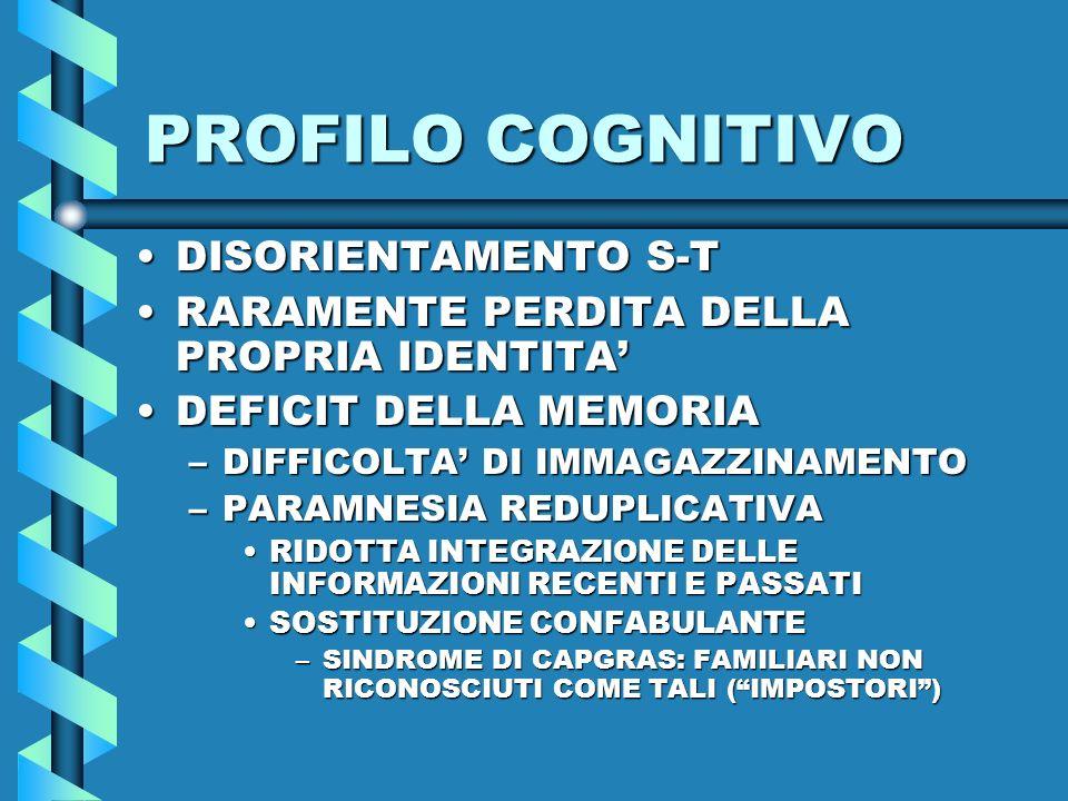 PROFILO COGNITIVO DISORIENTAMENTO S-T