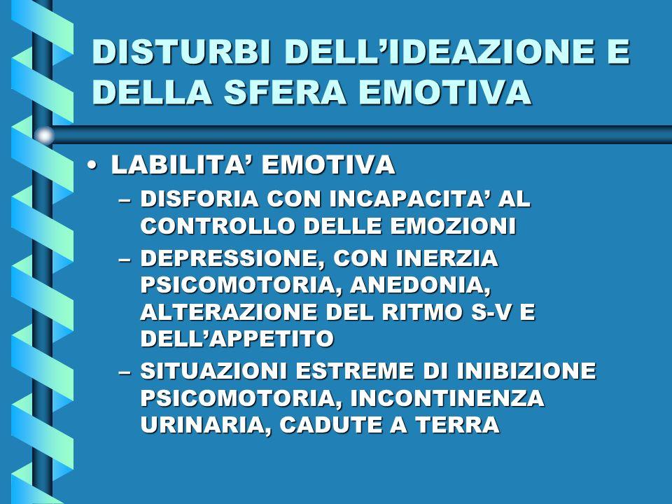 DISTURBI DELL'IDEAZIONE E DELLA SFERA EMOTIVA