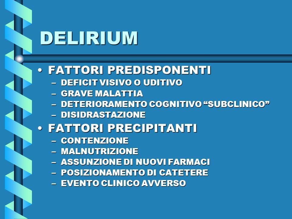 DELIRIUM FATTORI PREDISPONENTI FATTORI PRECIPITANTI