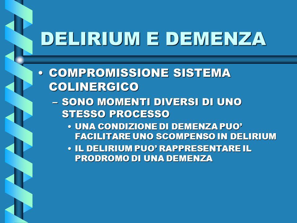 DELIRIUM E DEMENZA COMPROMISSIONE SISTEMA COLINERGICO
