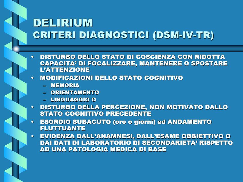 DELIRIUM CRITERI DIAGNOSTICI (DSM-IV-TR)