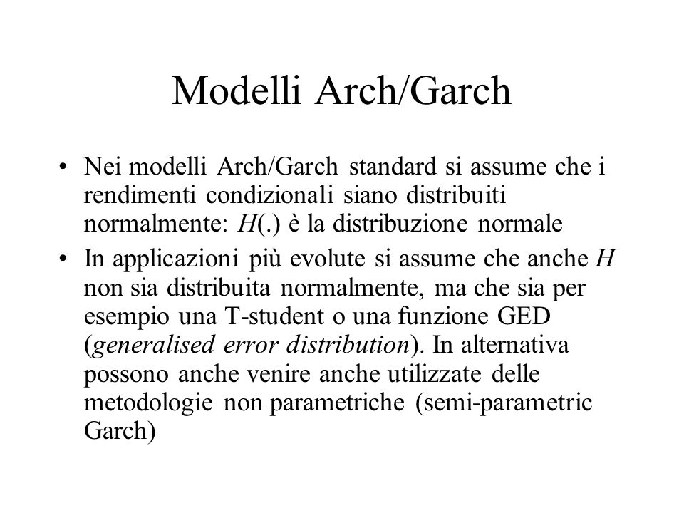 Modelli Arch/Garch