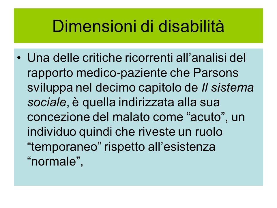 Dimensioni di disabilità