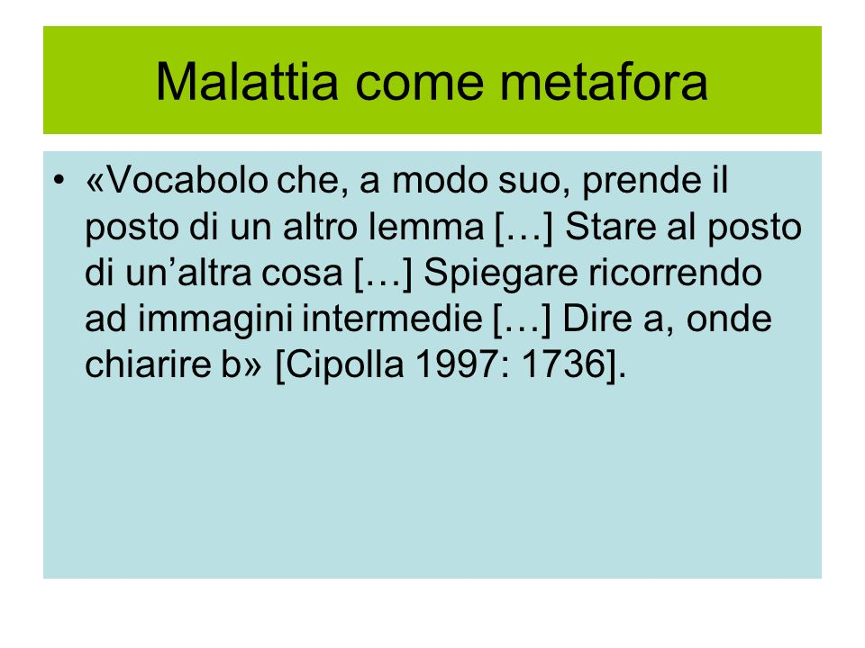Malattia come metafora