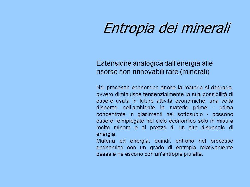 Entropia dei minerali Estensione analogica dall'energia alle risorse non rinnovabili rare (minerali)