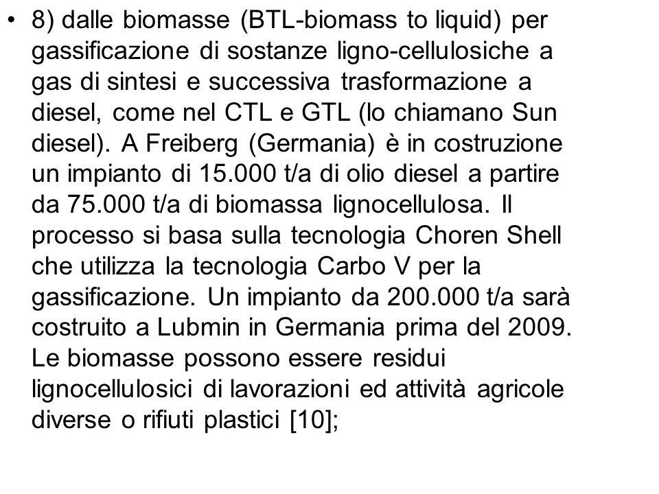 8) dalle biomasse (BTL-biomass to liquid) per gassificazione di sostanze ligno-cellulosiche a gas di sintesi e successiva trasformazione a diesel, come nel CTL e GTL (lo chiamano Sun diesel).