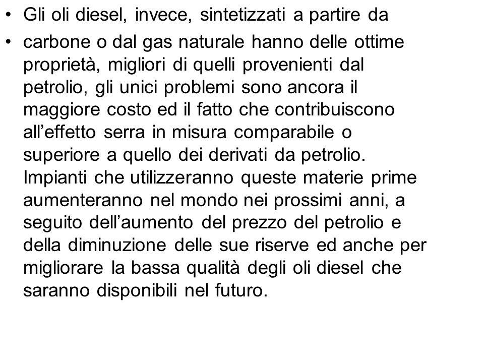 Gli oli diesel, invece, sintetizzati a partire da