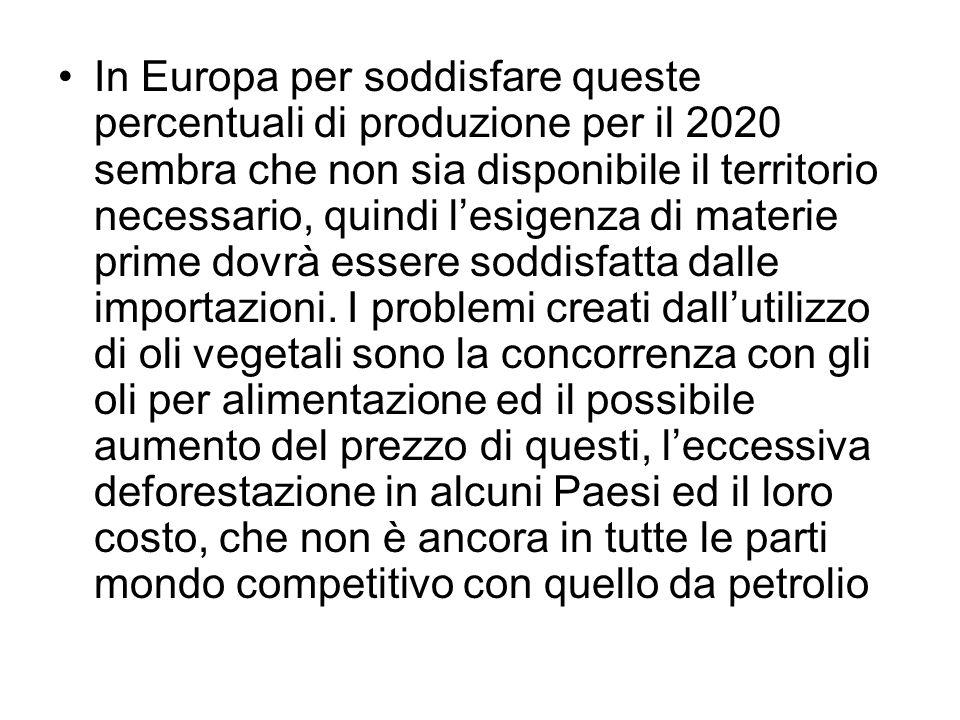 In Europa per soddisfare queste percentuali di produzione per il 2020 sembra che non sia disponibile il territorio necessario, quindi l'esigenza di materie prime dovrà essere soddisfatta dalle importazioni.